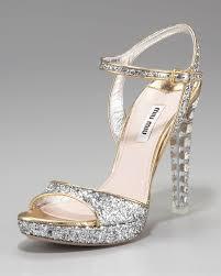 wedding shoes jeweled heels women s gray heel glitter platform sandal miu miu