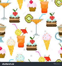 seamless pattern drinks dessert textiles interior stock vector