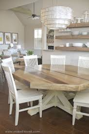 dining room wooden floating shelves with chandelier and