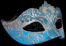 blue masquerade masks silver blue side view authentic made masquerade mask