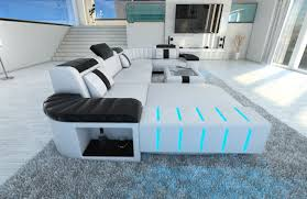 sofa mit led design sectional sofa bellagio led u shape white black ebay