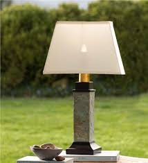 outdoor slate table l with removable battery operated torch