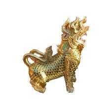 gold lion statue pair of gold thai lion singha wood carving sculpture home decoration