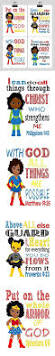 african american christian superhero nursery decor art print set