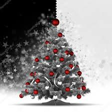 christmas tree with red baubles on black and white background