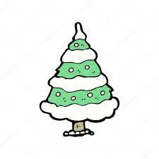 snow covered christmas tree cartoon u2014 stock vector