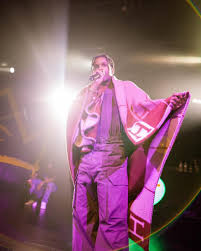 asap rocky performs in york city draped in a hermes blanket