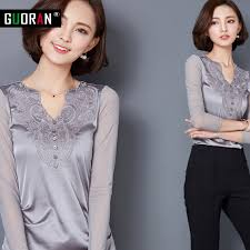 grey silk blouse fashion 2016 autumn womens shirts sleeve office