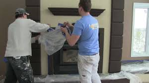 custom stucco fireplace precision taping time lapse video