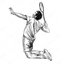 hand sketch badminton player u2014 stock vector onot 112720986