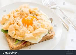 egg clouds healthy breakfast wholemeal bread toast cloud stock photo