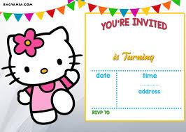Hello Kitty Birthday Invitation Card Free Hello Kitty Invitation Templates Drevio Invitations Design