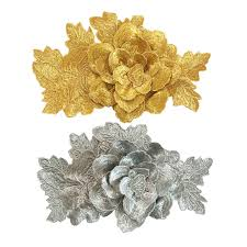 gold flowers 6pc 21x13cm 3d flower embroidered patch gold flowers embroidery