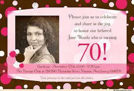 70th birthday invitation lady u0027s sweet photo pink u0026 brown