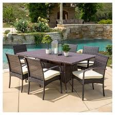 rudolph 7pc wicker patio dining set with cushions brown