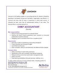 chief accountant job ad chief accountant kaunas full time work delta