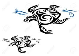 turtle in water in tribal style for design royalty