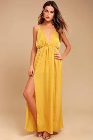 yellow dress mustard yellow dress satin dress maxi dress 54 00