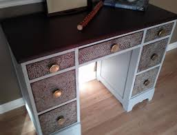 Faux Leather Paint - salvaged wood desk with faux leather top and bubble wrap plaster