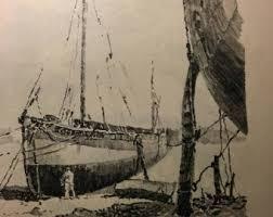 rustic boat sketch pencil drawing of boat download printable