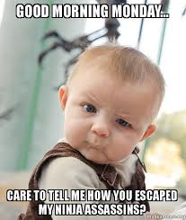 Monday Morning Meme - good morning monday care to tell me how you escaped my ninja