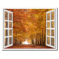 Wall Art Home Decor Autumn Trees Red Leaves 3d Window Wall Art Home Decor Frames