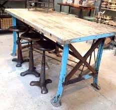 reclaimed wood table with metal legs steel and reclaimed wood furniture vintage worktable blue metal and