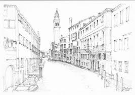not quite vertical san giorgio dei greci venice pencil and ink