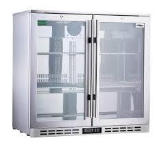 rhino stainless steel 2 door triple glazed glass bar fridge the