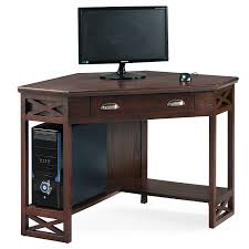 Office Table Furniture Amazon Com Leick Corner Computer And Writing Desk Chocolate Oak