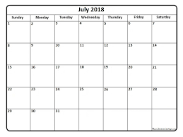 printable calendar template printable july 2018 calendar template business template