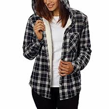 Black And White Plaid Shirt Womens Womens Winter Heavy Cotton Plaid Flannel Sherpa Lined Hooded