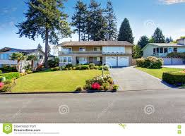 nice two story houses beautiful house exterior with curb appeal stock photo image