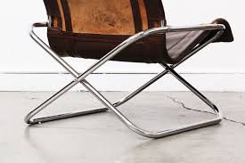 Folding Chair Leather Mid Century Folding Leather U0026 Chrome Lounge Chairs Vintage