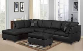 Black Sectional Sofa With Chaise Modern 2pc Black Sectional Sofa And Chaise Kassa Mall Home Furniture