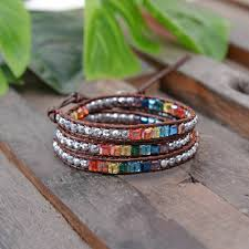 multi color stone bracelet images Bracelet leather crystal multi color 7 chakra natural stone jpg