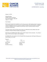 thank you letter from cancer alliance rendina family foundation