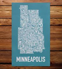 Dc Neighborhood Map Minneapolis Neighborhood Map Art Print Features Local Pride