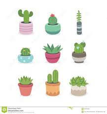 Cute Plant by Cactus And Succulent Plants In Pots Stock Vector Image 59090228