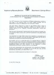 Business Anniversary Letter by Philippine Embassy Berne Switzerland