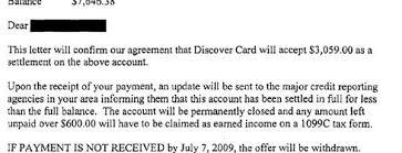 discover card sample debt settlement letter leave debt behind