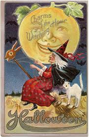 vintage halloween witch image with moon man the graphics fairy