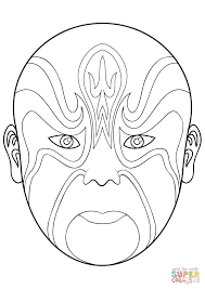chinese opera mask 4 coloring page free printable coloring pages