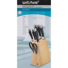 wiltshire eclipse 8 piece knife block set 9741033ws kitchen