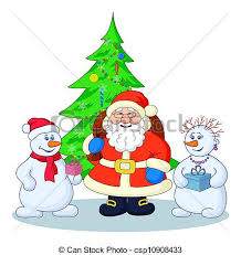 drawings of santa claus christmas tree and snowmans holiday