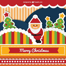 cute merry christmas card vector free download