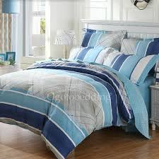 Grey And Teal Bedding Sets Unique Casual Cheap Blue Striped Queen Size Comforter Sets