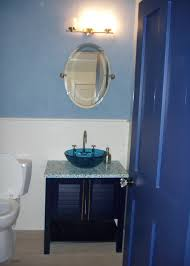 Blue Vanity Table Bathroom Cool Blue Themes Small Bathroom Designs With Oval Wall