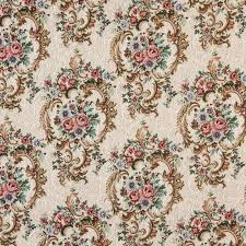 Traditional Upholstery Fabrics Tan Beige And Pink Fuchsia Vintage Floral Victorian Heirloom