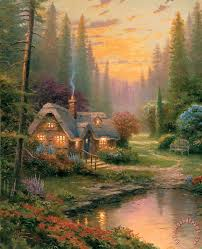 kinkade meadowood cottage painting meadowood cottage
